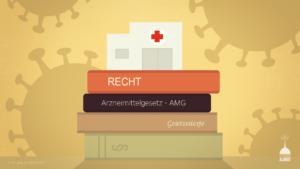 Ein Impfzentrum auf Büchern mit Gesetzestexten, im Hintergrund Silhouetten von Viren